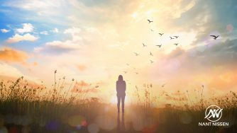 3 Tips to Help Your Mental Health showing a lady in field at sunset